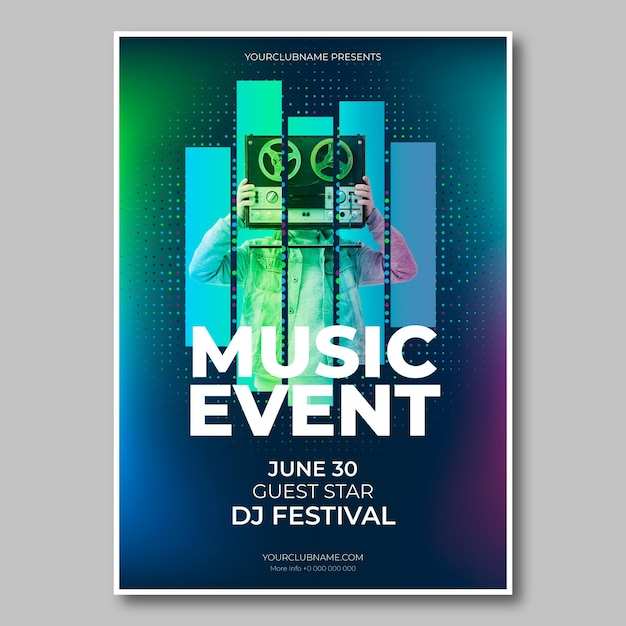 2021 music event poster with photo Premium Vector