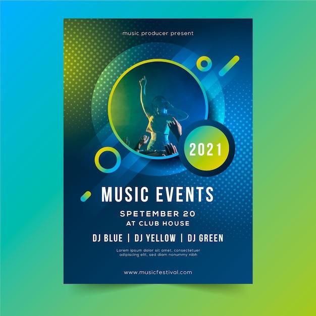 Афиша музыкального события 2021 года с фотографией Бесплатные векторы