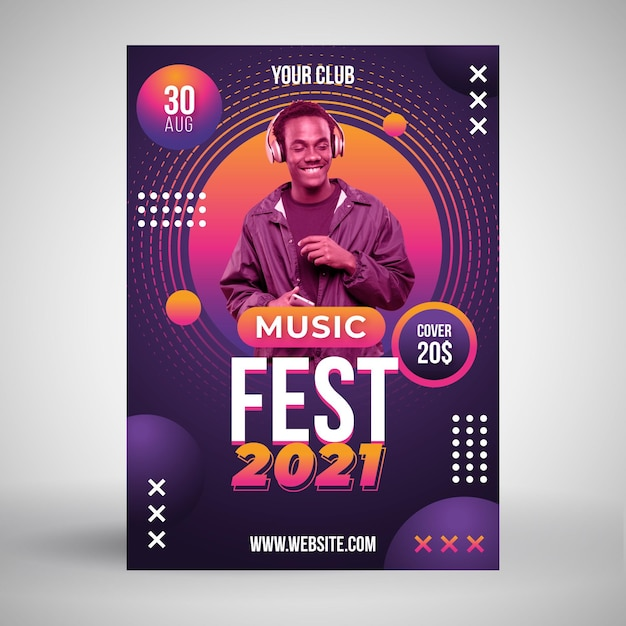2021 music event poster with photo Free Vector