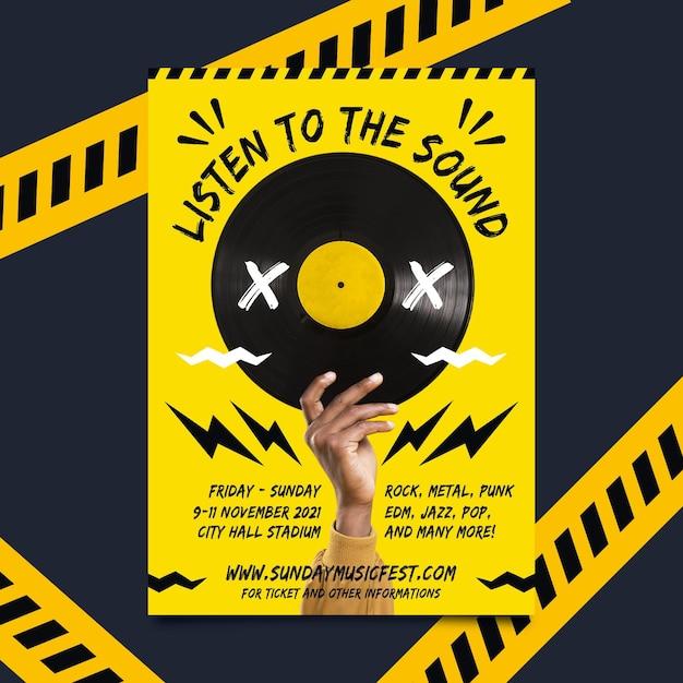 Афиша музыкального события 2021 года Бесплатные векторы
