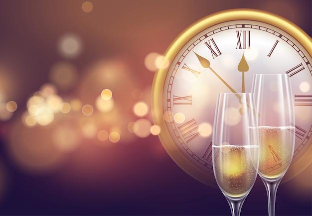 2021 новогодний фон с часами и бокалами шампанского и светящимся боке Premium векторы