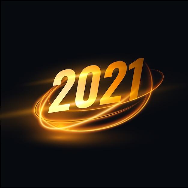 Новогодний фон 2021 года с золотой световой полосой Бесплатные векторы