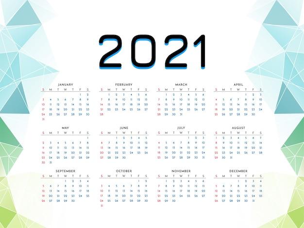 2021 год новогодний календарь дизайн геометрический стиль шаблона Бесплатные векторы
