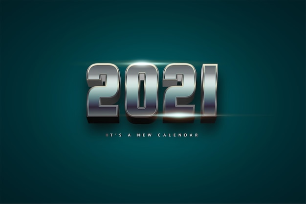 2021 새해 달력, 크롬 화려한 배경 템플릿의 휴일 그림 프리미엄 벡터