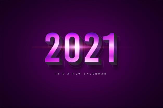 2021 새해 달력, 보라색 화려한 배경 템플릿의 휴일 그림 프리미엄 벡터