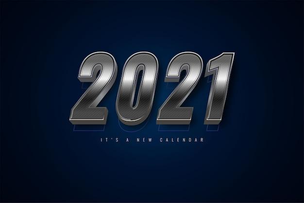 2021 새해 달력, 실버 화려한 배경 템플릿의 휴일 그림 프리미엄 벡터