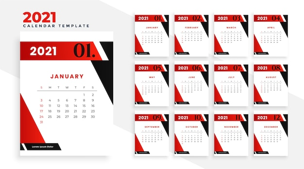 2021 new year calendar template design in geometric style Free Vector