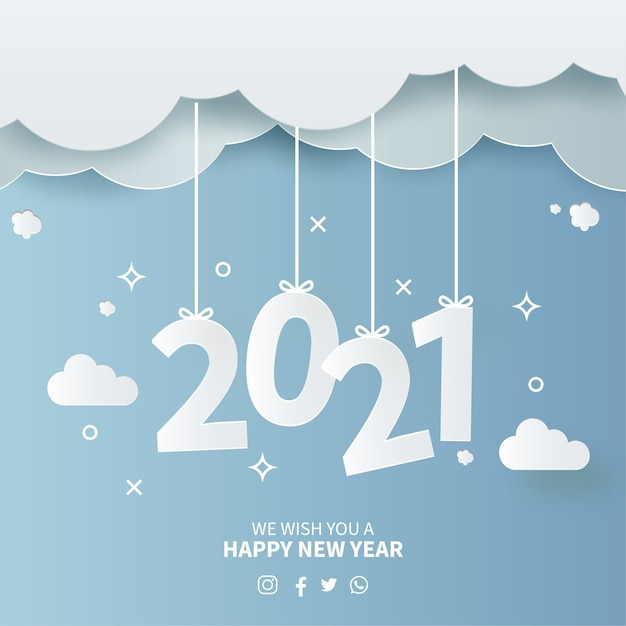 Free Vector 2021 New Year Card With Papercut Sky Background