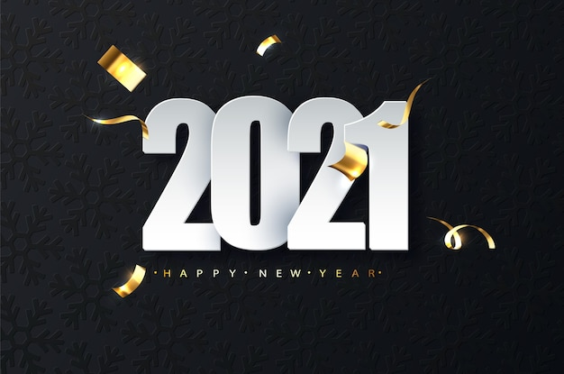 2021 new year luxury illustration on dark background. happy new year greetings Free Vector