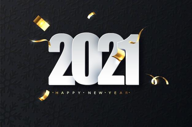 어두운 배경에 2021 새 해 럭셔리 그림. 새해 복 많이 받으세요 무료 벡터