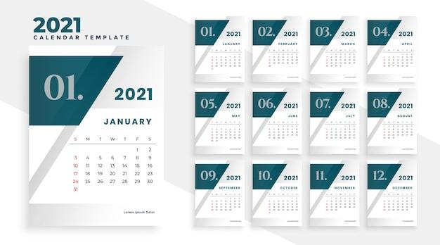 2021 новый год современный дизайн календаря шаблон Бесплатные векторы