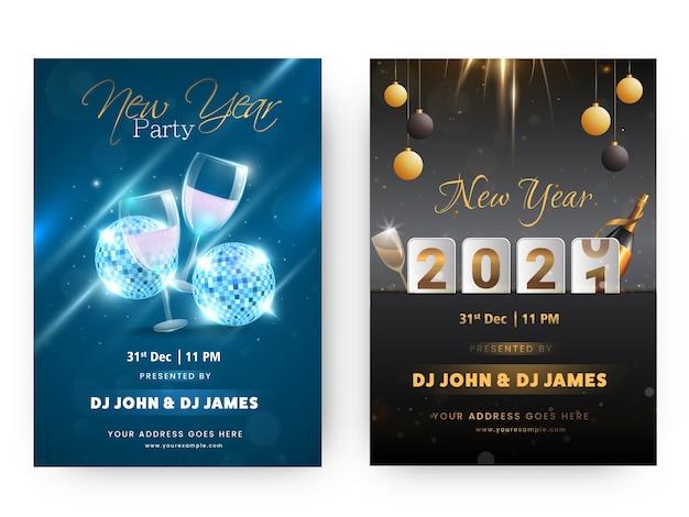 Дизайн флаера или шаблона новогодней вечеринки 2021 в синем и черном цветах Premium векторы