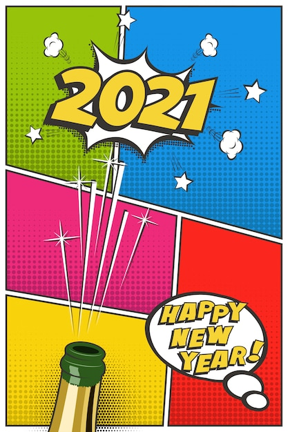 2021 new year vertical greeting card template, festive ...