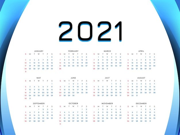 2021 new year wave style calendar design background Free Vector