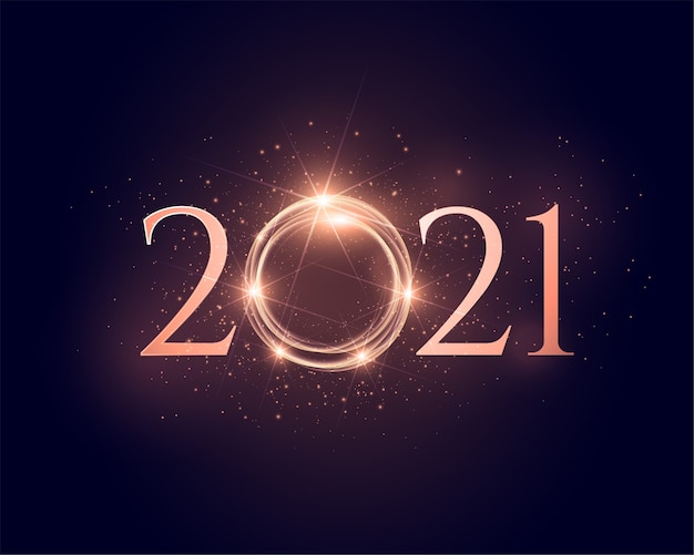 2021 shiny sparkling new year glowing background Free Vector