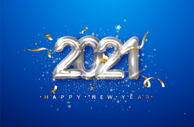 2021 silver metal numerals on a blue background. holiday illustration with date 2021 Free Vector