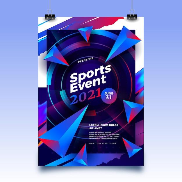 Modello di poster di eventi sportivi 2021 con forme astratte Vettore gratuito