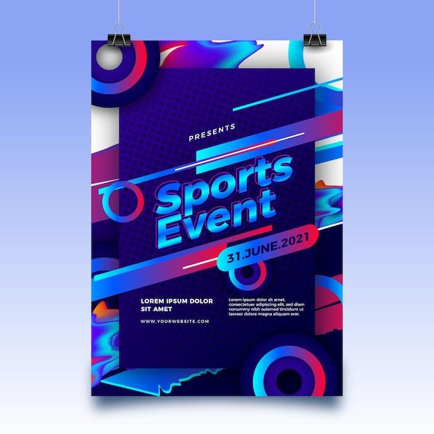 추상적 인 모양을 가진 2021 스포츠 이벤트 포스터 무료 벡터