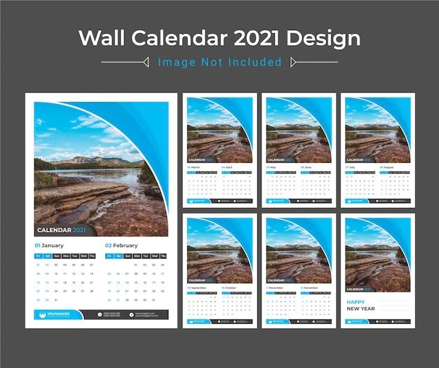 2021 настенный календарь, планировщик даты Premium векторы