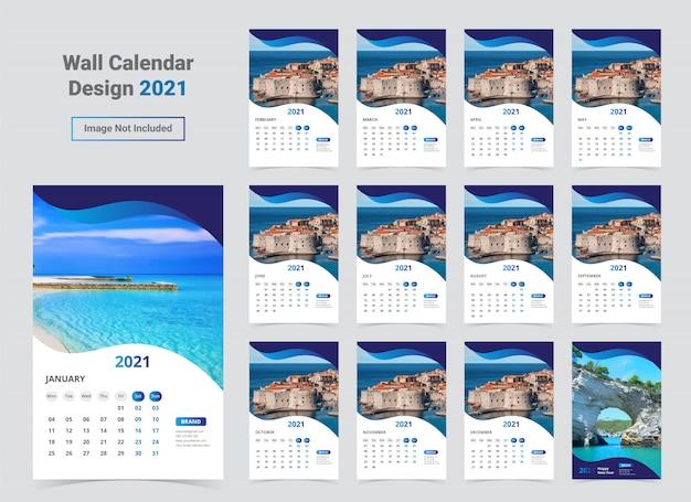Template kalender dinding 2021 Vektor Premium
