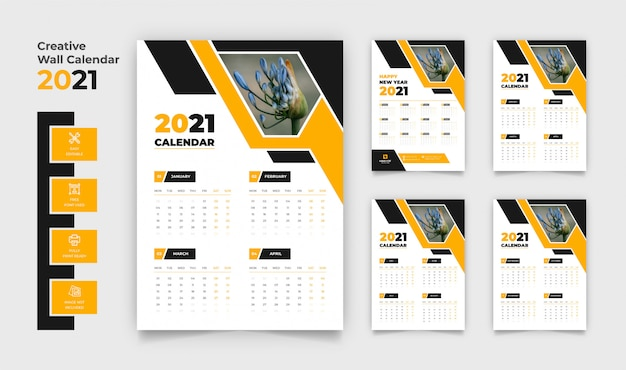 Premium Vector | 2021 wall calendar with 4 pages