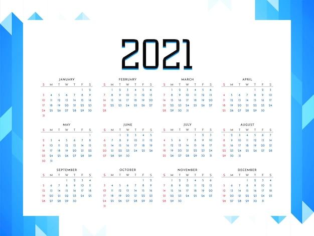 2021 year calendar business style design vector Free Vector