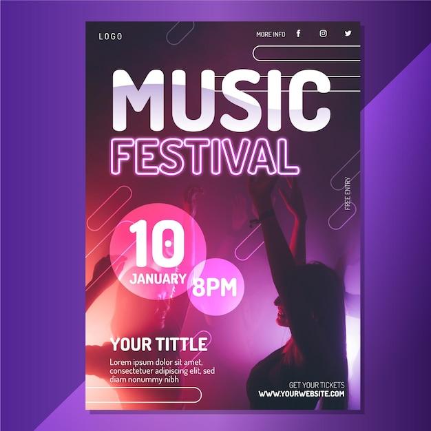 写真付き2021音楽イベントポスター 無料ベクター