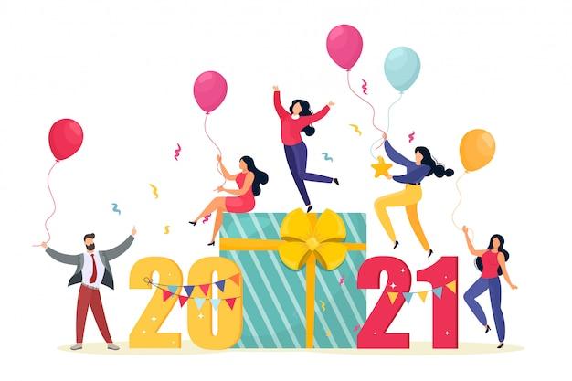 2021счастливая новогодняя визитка. иллюстрация с маленьких людей, готовящихся к вечеринке. счастливая команда празднует праздник. мультяшный плоский стиль. Premium векторы