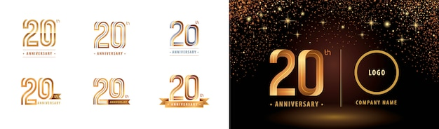 Набор 20-й годовщины логотипа дизайна, двадцать лет праздновать годовщину логотипа Premium векторы