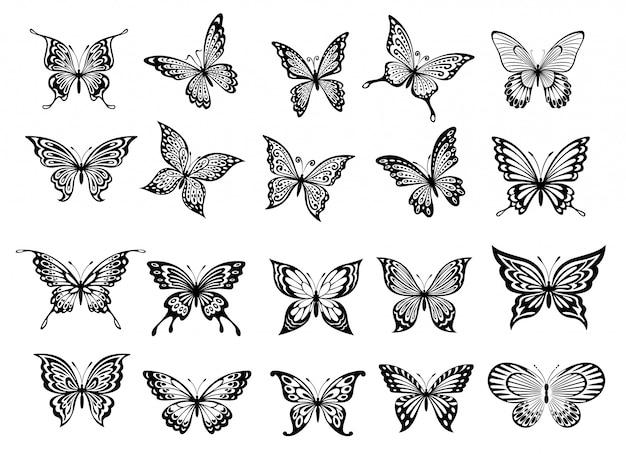 20匹の蝶のセット Premiumベクター