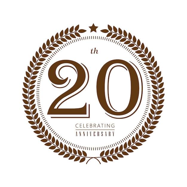 20-летие празднования векторный логотип на белом фоне Premium векторы
