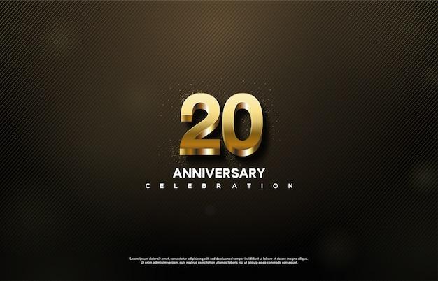 Празднование 20-летия с 3d золотыми числами. Premium векторы