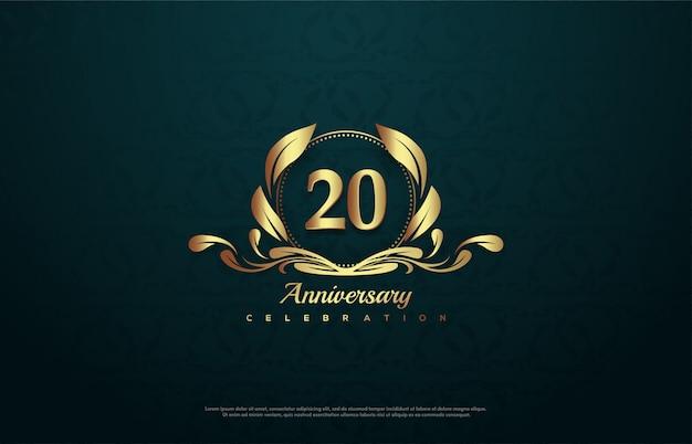 エンブレムの中の金の数字のイラストで20周年のお祝い。 Premiumベクター