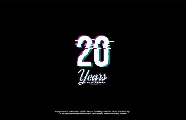 Празднование 20-летия с числами, нарезанными ирисом. Premium векторы