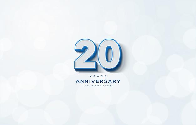 Празднование 20-летия с белыми 3d номерами иллюстрации. Premium векторы
