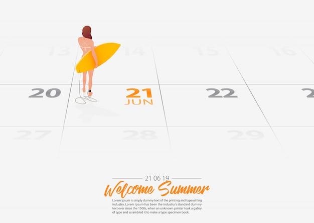 Девочка держит доску для серфинга отмечена дата летний сезон стартует по календарю 21 июня 2019 года. Premium векторы