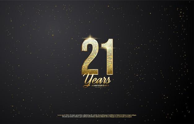 21-я годовщина со светящимися золотыми номерами. Premium векторы