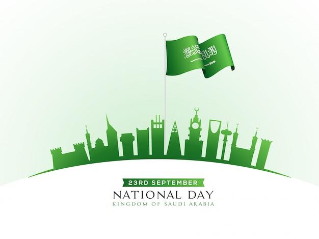 23rd september national day of saudi arabia celebration Premium Vector