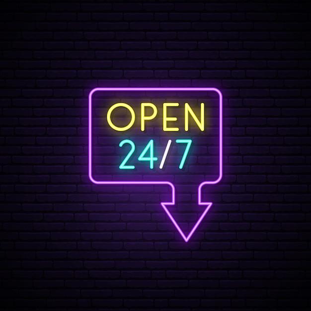 24時間365日のネオンサインを開きます。 Premiumベクター