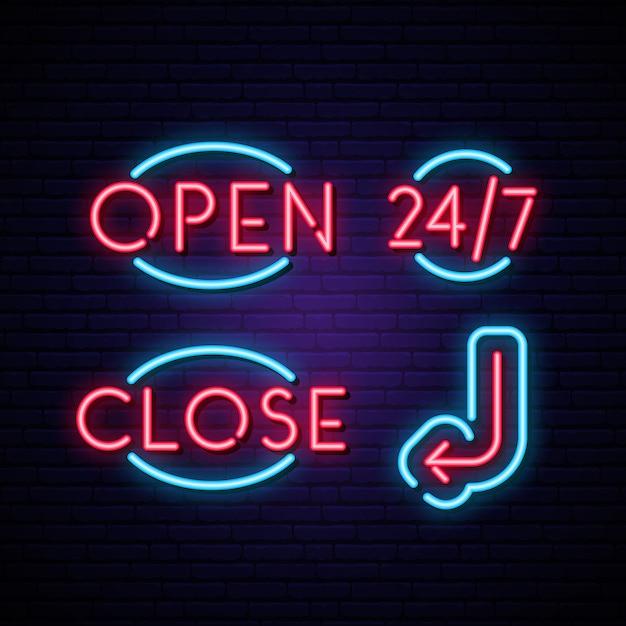 開く、閉じる、24時間365日の矢印とネオンサイン。 Premiumベクター