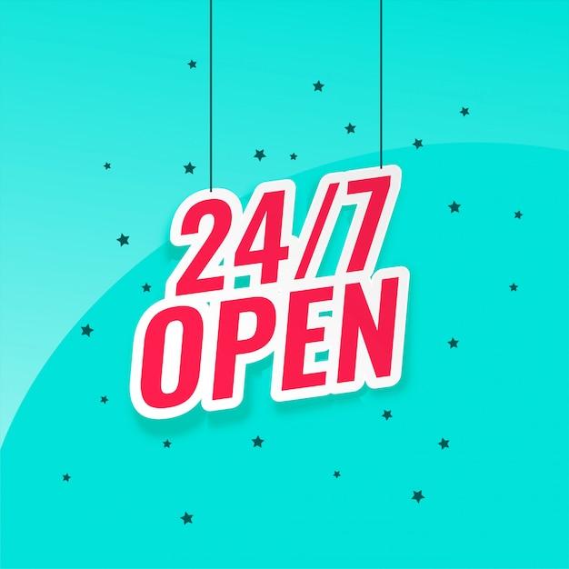 24/7 open signboard Free Vector