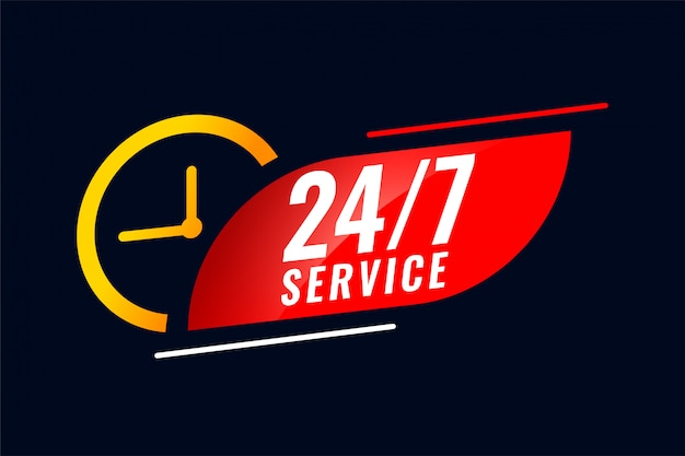 Баннер обслуживания 24 часа и 7 дней с часами Бесплатные векторы