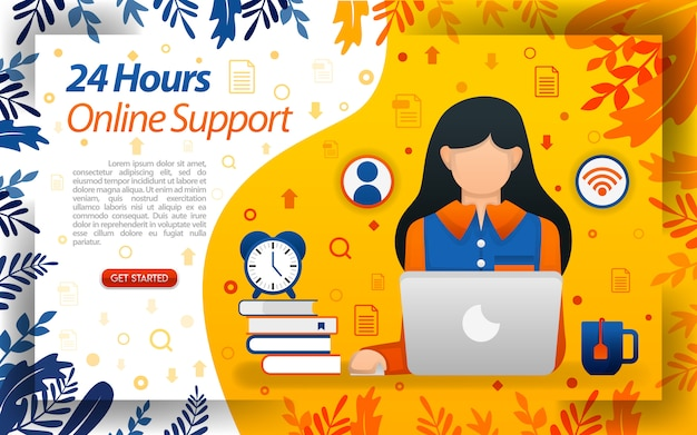 24-hour online service with illustrations of women working in front of laptop Premium Vector