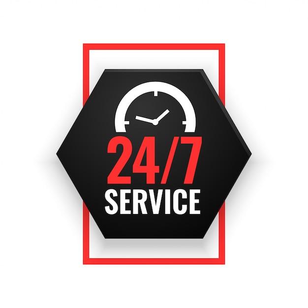 24-часовой сервисный баннер с дизайном часов Бесплатные векторы