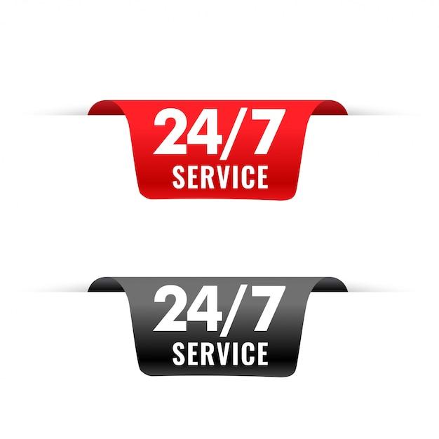 3dスタイルの24時間サービスリボンタグ 無料ベクター