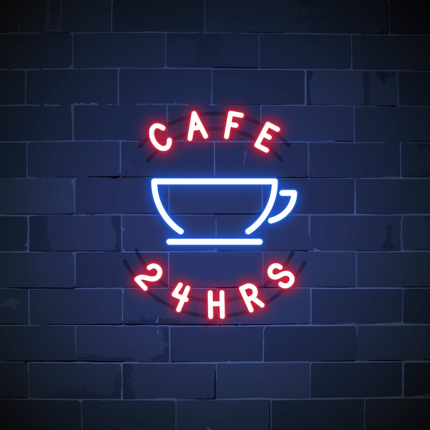 24 hours cafe neon sign vector Free Vector