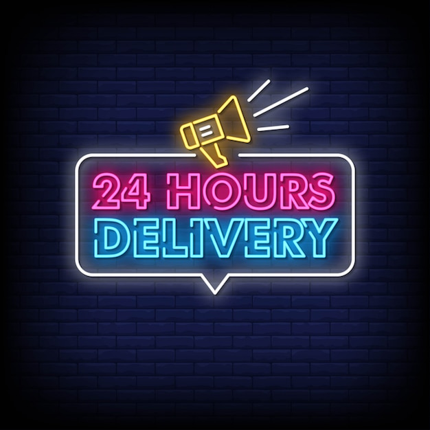 24 hours delivery neon signs style text Premium Vector