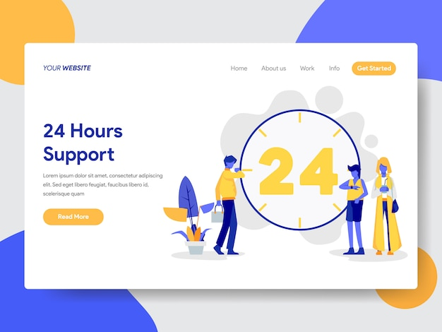 24 hours live support illustration for web page Premium Vector