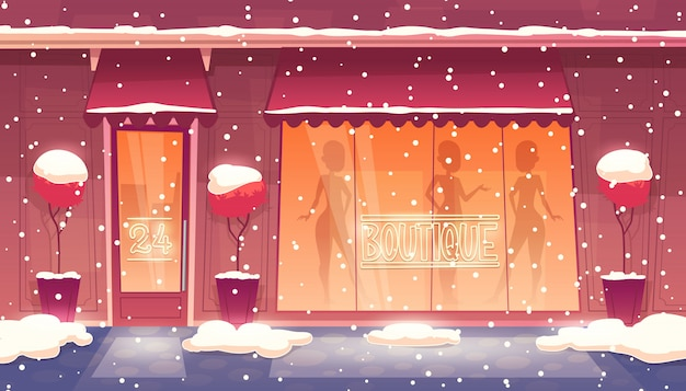 24 hours, round-the-clock boutique with shop-window, clothing market, it snows. Free Vector
