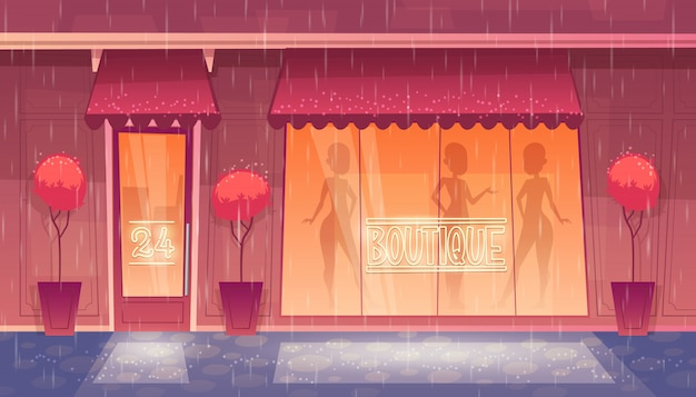 24 hours, round-the-clock boutique with shop-window, clothing market at night. Free Vector